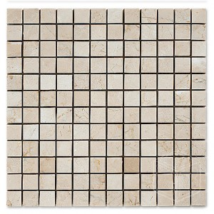 1x1 Botticcino Square Pattern Polished Marble Mesh Mounted Mosaic Tile