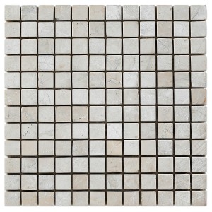 1x1 Botticcino Square Pattern Tumbled Marble Mesh Mounted Mosaic Tile