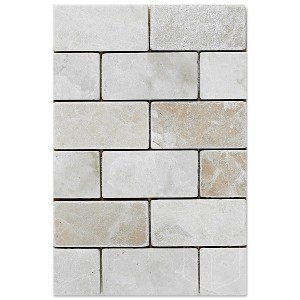 2x4 Botticcino Brick Pattern Tumbled Marble Mesh Mounted Mosaic Tile