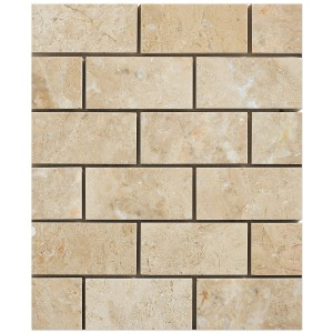 2x4 Bursa Beige Brick Pattern Polished Marble Mesh Mounted Mosaic Tile