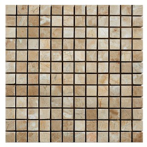 1x1 Bursa Beige Square Pattern Polished Marble Mesh Mounted Mosaic Tile