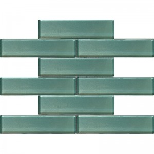2x8 Galaxy Aqua Blue Glass Mosaic Tile