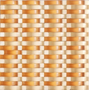 Vintrav Burnt Orange 3D Waves Glass Mosaic Tiles