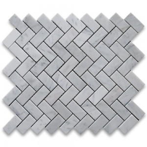 1x2 Italian White Carrara Marble Herringbone Pattern Honed Mesh Mounted Mosaic Tile