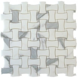 Italian Calacatta Gold Dogbone Basketweave Polished Marble Mosaic Tile with Calacatta Marble Dot