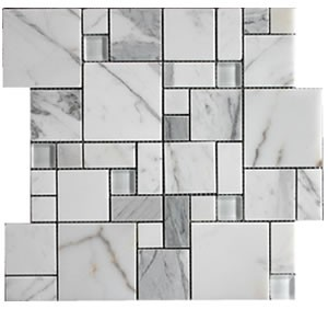 Italian Calacatta Gold Versailles Polished Marble Mosaic Tile