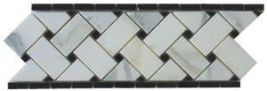 Calacatta Gold Basketweave 4 in. x 12 in. Marble Border Corner From Italy