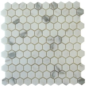 Italian Calacatta Marble Hexagon 1x1 Polished Mosaic Tile
