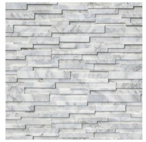 Calacatta Cressa 3D Honed Marble 6 in. x 24 in. Ledger Panel Wall Tile
