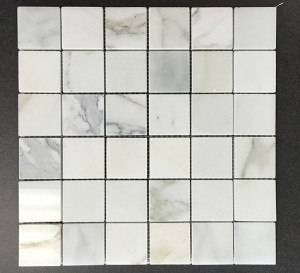 2 in. x 2 in. Calacatta Gold Polished Marble Mesh Mounted Mosaic Tile | Wall | Backsplash | Bathroom | Kitchen | Shower