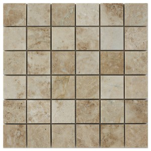 2x2 Cappuccino Polished Marble Mesh Mounted Mosaic Tile