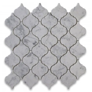 Italian Carrara White Marble Lantern Shaped Polished Mosaic Tile