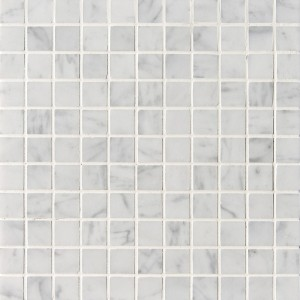 1x1 Bianco White Polished Square Mesh-Mounted Marble Mosaic Tile