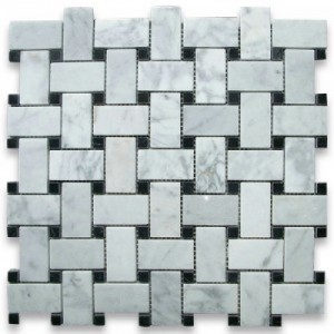 White Bianco Carrara Basketweave Black Dot Honed Marble Mosaic Tile