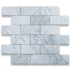Bianco White Carrara Marble 2x4 Brick Pattern Polished Mosaic Tile