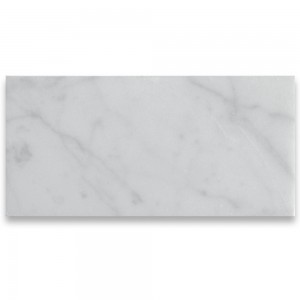 "Italian White Carrara 3"" x 6"" Subway Polished Marble Tile"