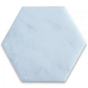 "Italian White Carrara 6"" Hexagon Honed Marble Tile for Bathroom, Kitchen and Floor"