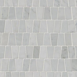 Carrara White Trapezoid Polished Marble Mosaic Tile | Wall | Floor | Backsplash | Accent Wall | Bathroom | Kitchen | Shower | Fireplace | Countertop