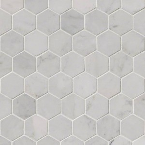 "2"" Inch Carrara White Polished Hexagon Marble Mosaic Tile 