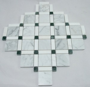 Diamond Pattern White Carrara with Green Dot Polished Marble Mosaic Tile | Wall | Backsplash | Bathroom | Kitchen | Shower | Natural Stone