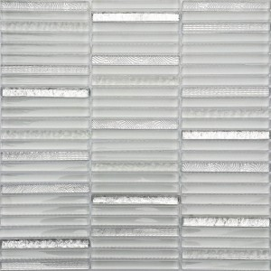 Allure White and Silver Brick Pattern Glass Mosaic Tile