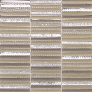 Pizzaz Silver and Beige Brick Pattern Glass Mosaic Tile