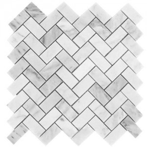 1x2 Bianco White Carrara Marble Herringbone Pattern Honed Mesh Mounted Mosaic Tile