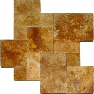 Tuscany Riviera French Versailles Pattern Tumbled Travertine Pavers Tile for Driveway and Pool Deck