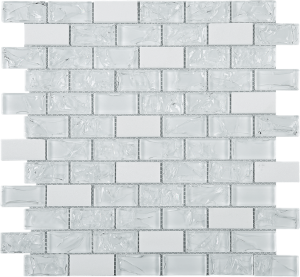 White Brick Pattern Glass & Marble Mesh Mounted Mosaic Tile