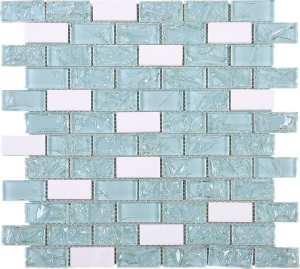 Green & White Brick Pattern Glass & Marble Mesh Mounted Mosaic Tile