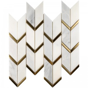 White and Gold Chevron Pattern Polished Marble Mosaic Tile | Backsplash | Shower | Kitchen | Bathroom | Wall
