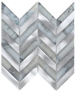 11 in. x 11 in. Chevron Shell Grey Glass Mosaic Tile | Wall | Backsplash | Accent Wall | Kitchen | Bathroom | Shower