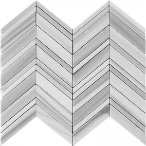 Edirne Grey Equator Marble Chevron Pattern Mosaic Tile