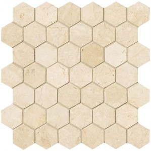 Spanish Crema Marfil Hexagon 2 inch Polished Mosaic Tile Sheet