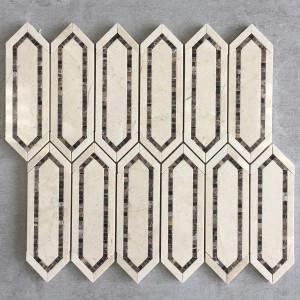 Cream Marfil & Dark Emperador Elongated Hexagon Polished Marble Mosaic Tile - Bamboo Captivate Series