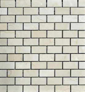 "Spanish Crema Marfil 1"" X 2"" Polished Mesh Mosaic Marble Floor and Wall Tiles"