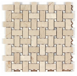 Crema Marfil 1x2 Basketweave Mosaic Tile w/ white Dots Polished