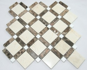 Diamond Pattern Crema Marfil Dark Emperador White Dot Polished Marble Mosaic Tile | Wall | Backsplash | Bathroom | Kitchen | Shower | Natural Stone