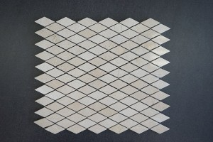 Diamond Pattern Crema Marfil Polished Marble Mosaic Tile | Wall | Backsplash | Bathroom | Kitchen | Shower | Natural Stone