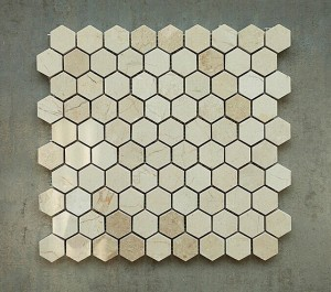 1 1/4 in. x 1 1/4 in. Crema Marfil Hexagon Polished Marble Mosaic Tile | Wall | Backsplash | Bathroom | Kitchen | Shower | Natural Stone