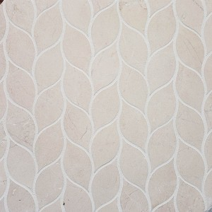 Crema Marfil Leaf Pattern Polished Marble Mosaic Tile