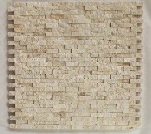 Mini Brick Pattern Crema Marfil Splitface Marble Mosaic Tile | Wall | Backsplash | Bathroom | Kitchen | Shower | Natural Stone