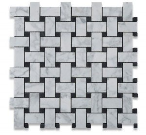 "Bianco White Carrara 1"" x 2"" Basketweave with Black Dots Polished Marble Mosaic Tile"