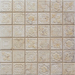 "12"" x 12"" Dynasty Beige Square Pattern Stone Mosaic Tile"