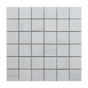 Dolomite 2 in. x 2 in. Polished Marble Floor & Wall Tile Meshed on 12 x 12 sheet