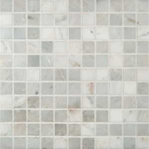 1x1 Arabescato Carrara Marble Square Pattern Honed Mesh Mounted Mosaic Tile