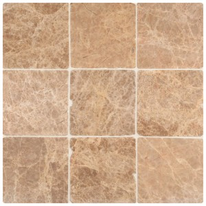 Emperador Light 4x4 Tumbled Marble Floor and Wall Tile