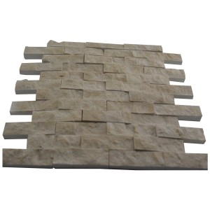 Botticino Beige 1x2 Split Face Bricks Pattern Marble Mosaic Tile