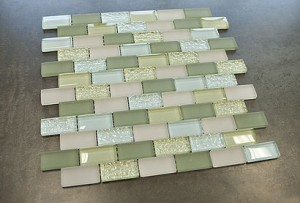 Vintrav Pestel Blue & Camouflage Green 1x2 Glass Mosaic Tile