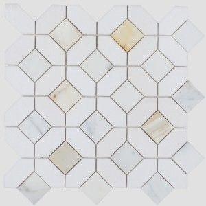 12.25x12.25 Calacatta Gold Hexagon & Square Pattern Marble Waterjet Mosaic Tile